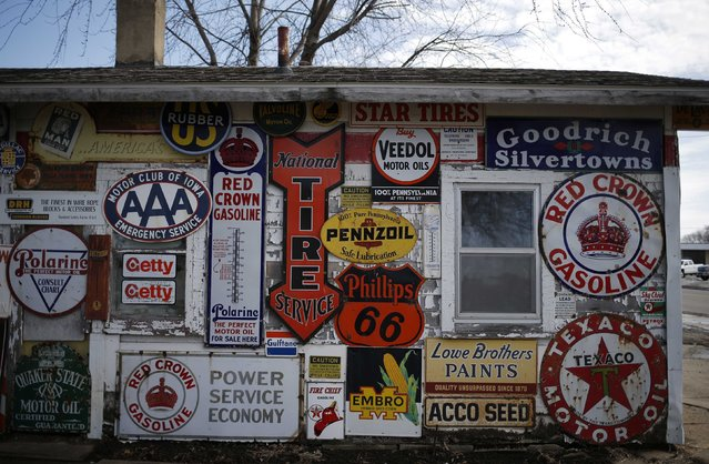 An old closed up gas station is seen in Belle Plaine, Iowa, March 8, 2015. (Photo by Jim Young/Reuters)