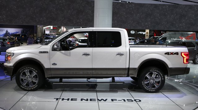 "A 2018 Ford F-150 ""King Ranch"" pickup truck is displayed during the North American International Auto Show in Detroit, Michigan, U.S., January 10, 2017. (Photo by Rebecca Cook/Reuters)"