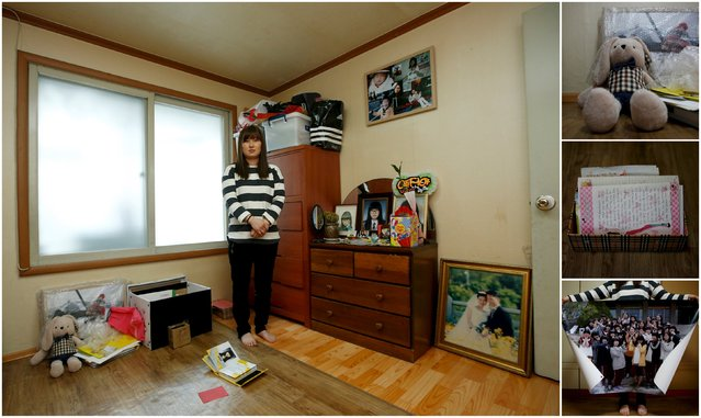 "A combination picture shows Eom Ji-yeong, the mother of Park Ye-ji, a high school student who died in the Sewol ferry disaster, as she poses for a photograph in her daughter's room, as well as details of objects, in Ansan April 8, 2015. Eom said: ""Every relic of our children is still there. I'd like to find them ... I'd also like to know the truth and the reason why they were not ordered to escape the ferry"". (Photo by Kim Hong-Ji/Reuters)"