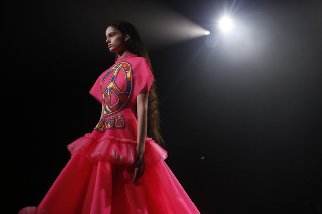 A model wears a creation for the Viktor and Rolf Spring/Summer 2019 Haute Couture fashion collection presented in Paris, Wednesday January 23, 2019. (Photo by Thibault Camus/AP Photo)