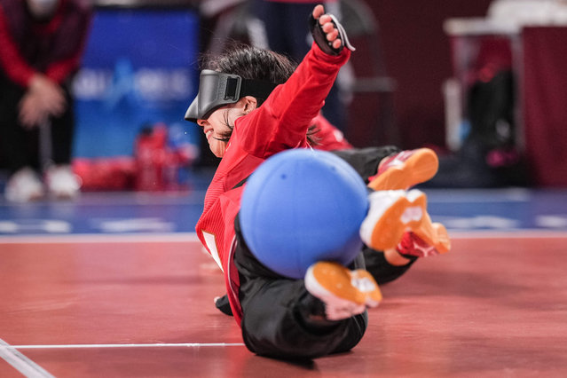 Japan's Rie Urata blocks the ball during a goalball preliminary group match between USA and Japan during the Tokyo 2020 Paralympic Games at Makuhari Messe Hall in Chiba, Japan, on August 28, 2021. (Photo by Yasuyoshi Chiba/AFP Photo)