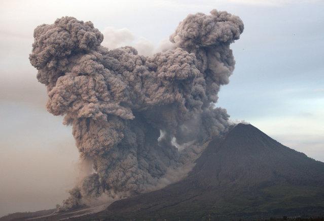 Mount Sinabung spews volcanic materials as seen from Gundaling, North Sumatra, Indonesia, Wednesday, January 8, 2014. (Photo by Binsar Bakkara/AP Photo)