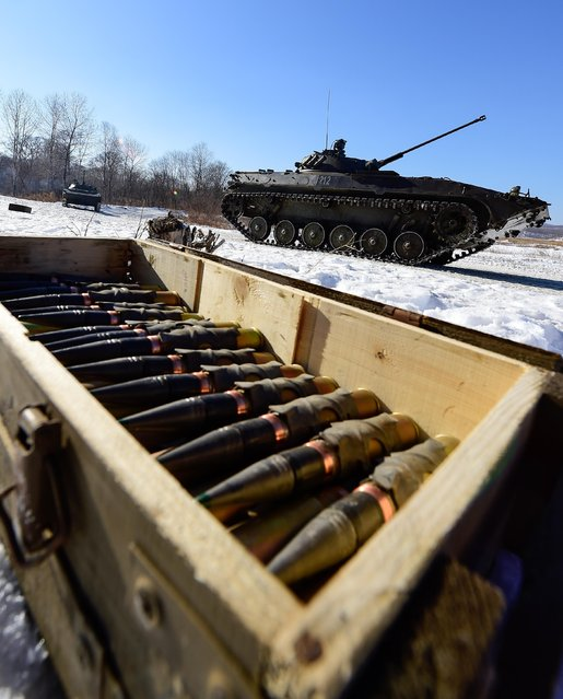 Ammunition for a 30 mm 2A42 automatic cannon installed on a BMP-2 turret during military exercises conducted by the Russian Pacific Fleet' s naval infantry unit at the Bamburovo firing range on February 2, 2017. (Photo by Yuri Smityuk/TASS)