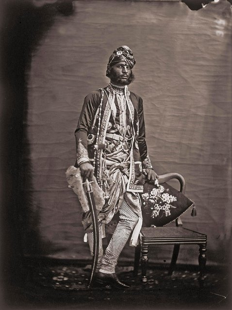 Full portrait of a noteworthy man in the royal palace of Jaipur, India, 1857 – 1865 (Photo by Maharaja Ram Singh III/Alinari via Getty Images)