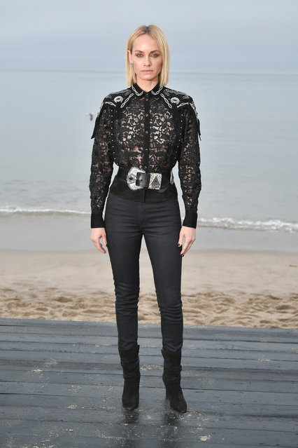 Amber Valletta attends the Saint Laurent Mens Spring Summer 20 Show Photo Call on June 06, 2019 in Malibu, California. (Photo by Neilson Barnard/Getty Images)
