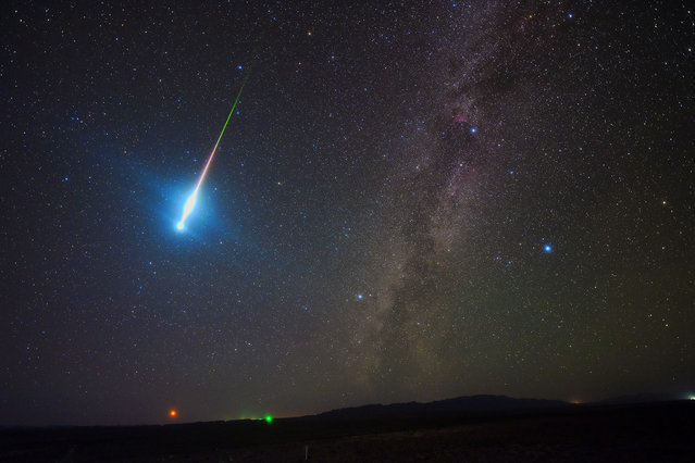 The Perseid Fireball 2018. Tang Zhengye (China). The image was taken at 4.45am on 13 August 2018 near Keluke Lake, Qinghai province, China. This was the photographer's first meteor shower watch, who saw a fireball that flashed over the sky and lit up the ground just before leaving. The halo effect lasted about three minutes. (Photo by Tang Zhengye/National Maritime Museum)