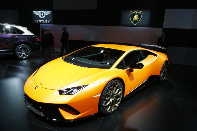 Lamborghini Huracan Performante is seen during the 87th International Motor Show at Palexpo in Geneva, Switzerland March 6, 2017. (Photo by Arnd Wiegmann/Reuters)