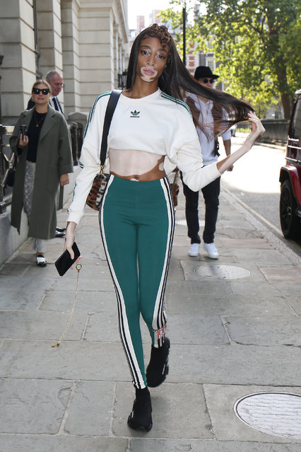 Winnie Harlow seen attending Hailey Baldwin X Adidas show at Victoria House during London Fashion Week September 2018 on September 17, 2018 in London, England. (Photo by Neil Mockford/GC Images)