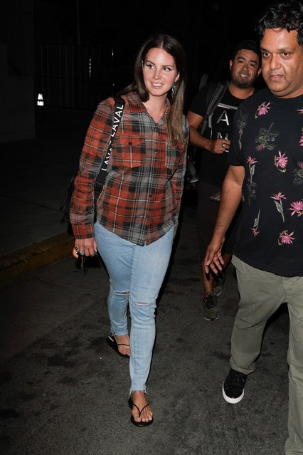 Singer, Lana del Rey makes her rare appearance out as she is seen leaving a Wednesday night church service at Saban Theatre in  Beverly Hills, CA. on August 28, 2019. (Photo by Backgrid USA)