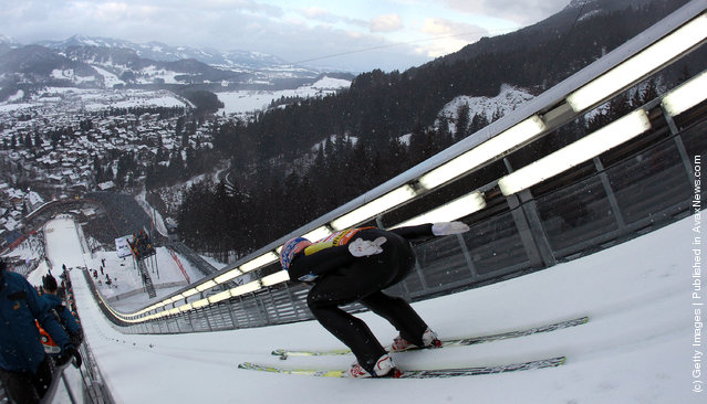 Andreas Kofler of Austria competes during the training round for the FIS Ski Jumping World Cup event of the 60th Four Hills ski jumping tournament