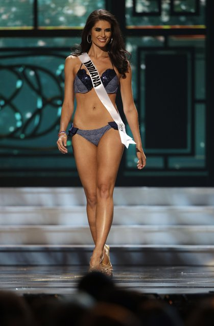 Miss Indiana, Gretchen Reece, competes in the bathing suit competition during the preliminary round of the 2015 Miss USA Pageant in Baton Rouge, La., Wednesday, July 8, 2015. (Photo by Gerald Herbert/AP Photo)