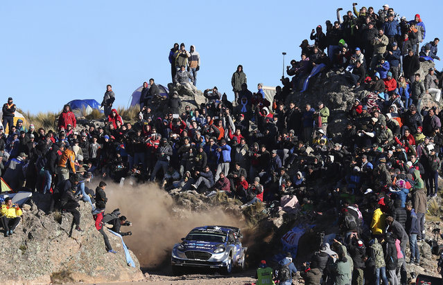 Driver Ott Tanak and his co-driver Jarveoja Martin, both from Estonia, compete with their Ford Fiesta WRC during the FIA World Rally Championship in El Condor, Cordoba, Argentina, Sunday, April 30, 2017. (Photo by Nicolas Aguilera/AP Photo)