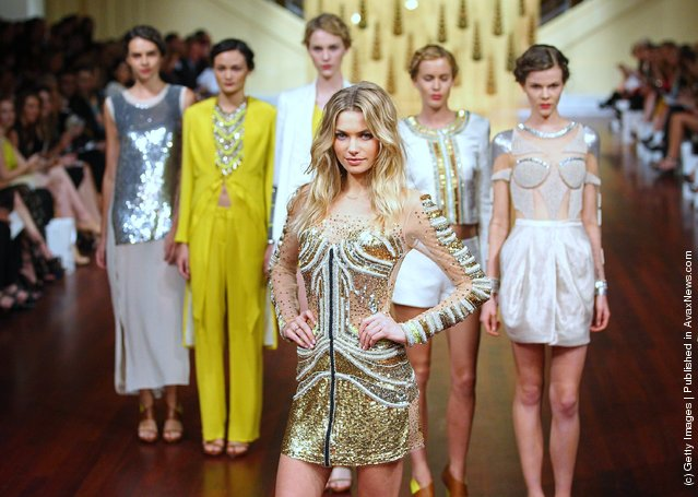 Model Jessica Hart showcases designs by Sass and Bide on the catwalk at the Myer A/W 2012 Collection Launch