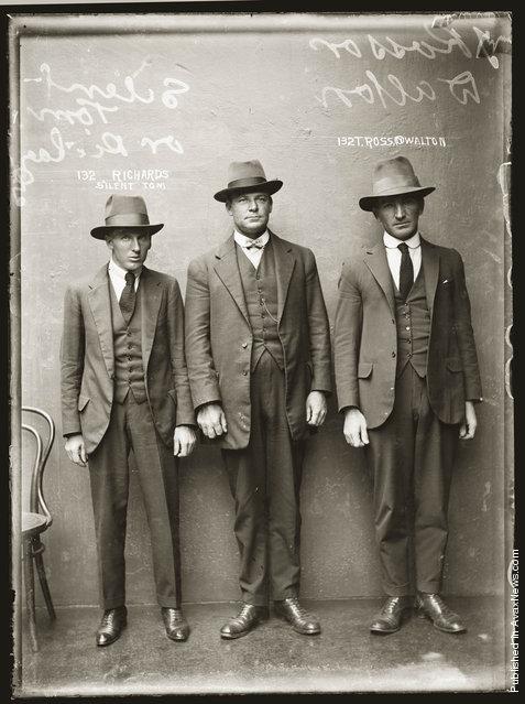 Mug shot of 'Silent Tom' Richards and T Ross, alias Walton, 12 April 1920, presumably Central Police Station, Sydney