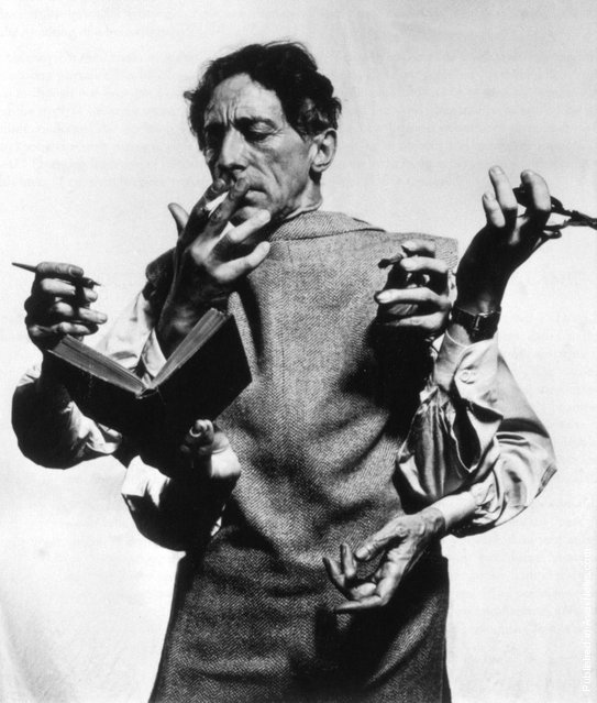 French poet, artist and filmmaker Jean Cocteau. USA, New York City, 1949. (Photo by Philippe Halsman)