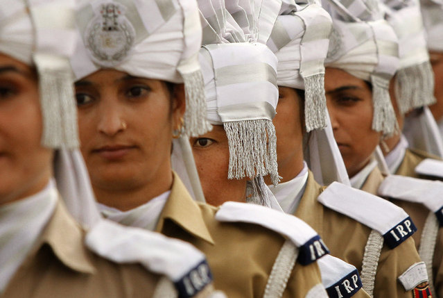 Jammu and Kashmir police women participate in the 69th Independence Day celebrations parade in Srinagar, India, Saturday, Aug. 15, 2015. Parts of Indian-controlled Kashmir observed a complete shutdown on Saturday on the occasion of India's Independence Day. The strike was called by Kashmiri separatists to protest against Indian rule in the disputed territory. (Photo by Mukhtar Khan/AP Photo)