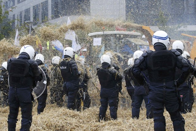 Belgian riot police officers are covered by hay and eggs thrown by demonstrators as farmers and dairy farmers from all over Europe take part in a demonstration outside an European Union farm ministers emergency meeting at the EU Council headquarters in Brussels, Belgium, September 7, 2015. (Photo by Jacky Naegelen/Reuters)