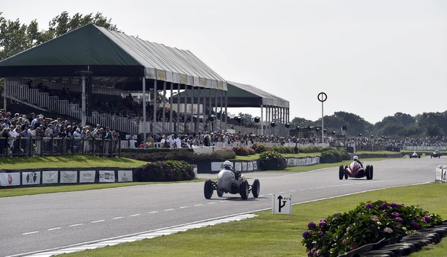 Car enthusiasts race at the Goodwood Revival historic motor racing festival in Goodwood, near Chichester in south England, Britain, September 11, 2015. (Photo by Toby Melville/Reuters)