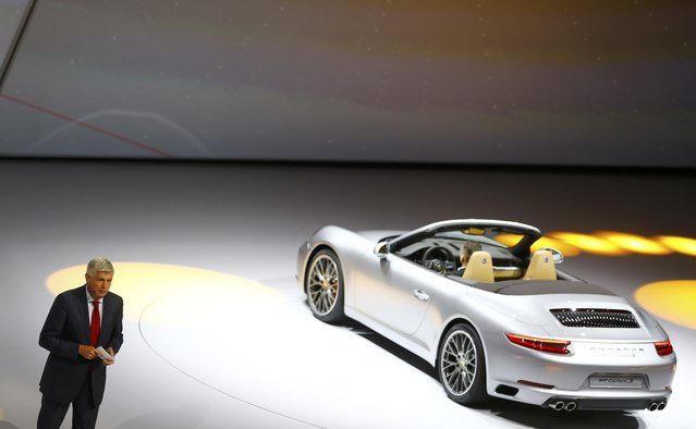 Wolfgang Hatz of Porsche presents the new Porsche 911 Carrera 3 cabrio during the Volkswagen group night ahead of the Frankfurt Motor Show (IAA) in Frankfurt, Germany, September 14, 2015. (Photo by Kai Pfaffenbach/Reuters)
