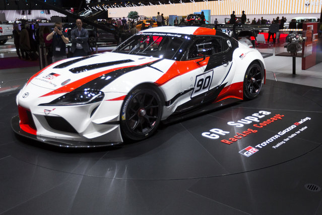 The new Toyota GR Supra Racing Concept is presented during the press day at the 88th Geneva International Motor Show in Geneva, Switzerland, Tuesday, March 6, 2018. (Photo by Cyril Zingaro/Keystone via AP Photo)