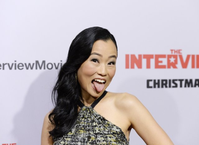 "Cast member Diana Bang poses during the premiere of the film ""The Interview"" in Los Angeles, California December 11, 2014. (Photo by Kevork Djansezian/Reuters)"