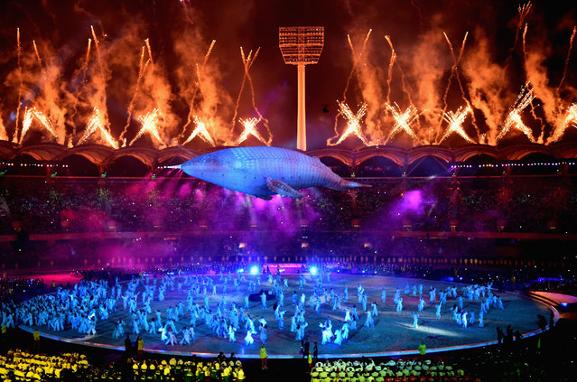 White Whale Migaloo is seen during the Opening Ceremony for the Gold Coast 2018 Commonwealth Games at Carrara Stadium on April 4, 2018 on the Gold Coast, Australia. (Photo by Dan Mullan/Getty Images)