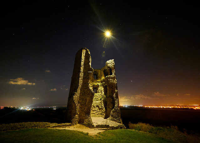 "Shortlisted: Hadleigh Castle ruins. ""This was once an important economic and defensive castle built during the reign of Henry III. It shines, once more, under the bright stars of the night sky as a drone passes by"". (Photo by Diana Buzoianu/Historic Photographer of the Year 2020)"