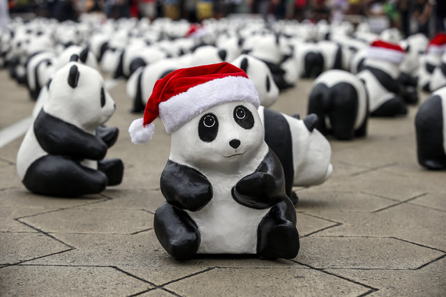 """A paper panda wearing a Santa Claus hat is displayed in front of the Sultan Abdul Samad building, a Malaysian iconic building, in Kuala Lumpur, Malaysia, December 21, 2014. The Paper pandas were created by French artist Paulo Grangeon, who crafted 1,600 pandas. The creations, which were made in six different shape and size, will visit more than 15 iconic landmarks in Malaysia under the theme """"Initiating the Culture of Creative Conservation"""". (Photo by Azhar Rahim/EPA)"""