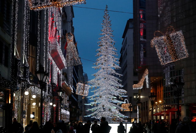 Christmas illuminations are seen in downtown Budapest, Hungary, December 12, 2020. (Photo by Bernadett Szabo/Reuters)