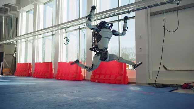 Atlas robot jumps in a year-end video by the robotics company Boston Dynamics in a screen grab from a December 29, 2020 social media post. (Photo by Boston Dynamics via Reuters)