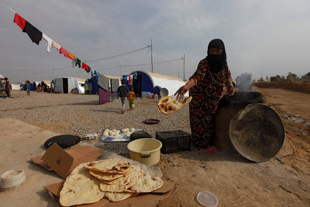 A woman who recently fled the Islamic State's stronghold on the outskirts of Mosul makes bread at Debaga camp, on the outskirts of Erbil, Iraq October 28, 2016. (Photo by Alaa Al-Marjani/Reuters)