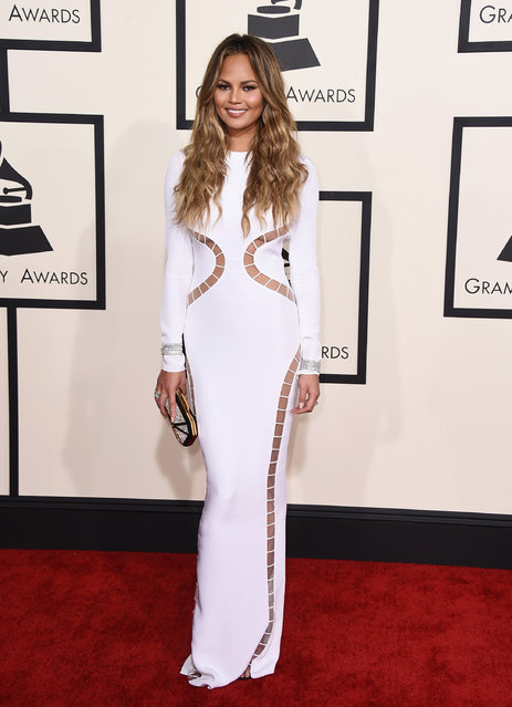 Chrissy Teigen arrives at the 57th annual Grammy Awards at the Staples Center on Sunday, February 8, 2015, in Los Angeles. (Photo by Jordan Strauss/Invision/AP Photo)
