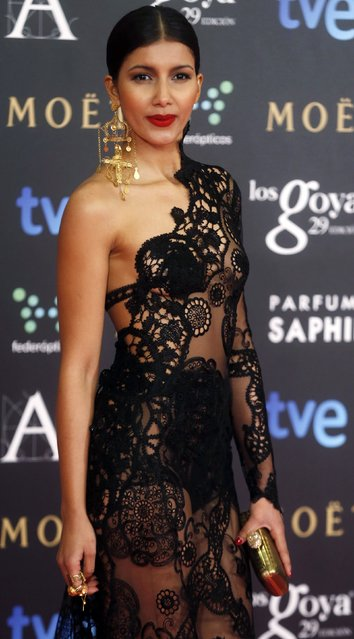 Sahrawi actress Mariam Bachir poses on the red carpet before the Spanish Film Academy's Goya Awards ceremony in Madrid, February 7, 2015. (Photo by Javier Barbancho/Reuters)