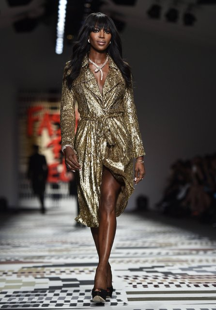 British model Naomi Campbell presents a creation during the Fashion for Relief charity catwalk show ahead of London Fashion Week in London February 19, 2015. (Photo by Toby Melville/Reuters)