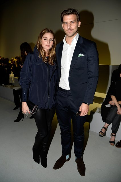 PARIS, FRANCE - MARCH 08:  Olivia Palermo (L) Johannes Huebl attend the Akris show as part of the Paris Fashion Week Womenswear Fall/Winter 2015/2016 on March 8, 2015 in Paris, France.  (Photo by Pascal Le Segretain/Getty Images)