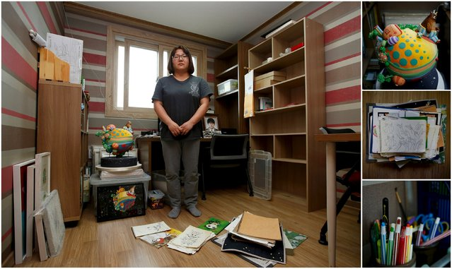 "A combination picture shows Kim Mi-hwa, mother of Bin Ha-yong, a high school student who died in the Sewol ferry disaster,  as she poses for a photograph in her son's room, as well as details of objects, in Ansan April 7, 2015. Kim said: ""As I see the children, they are all pretty and precious. All of them have a right to be loved and have dreams. Losing these kids is a tremendous loss for our country"". (Photo by Kim Hong-Ji/Reuters)"