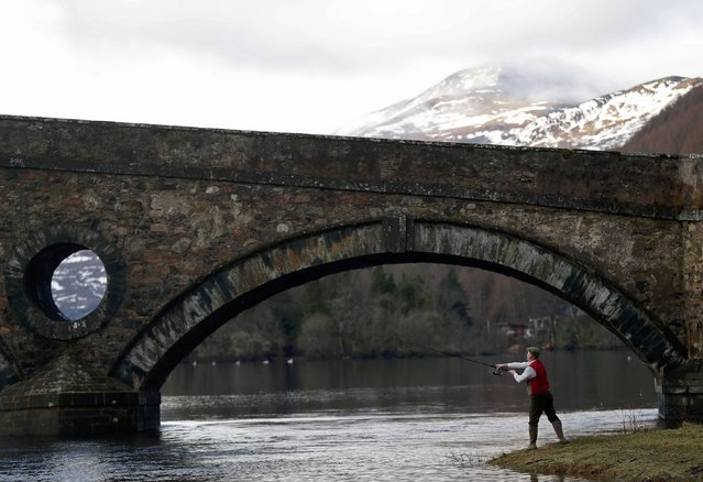 An angler fishes on the opening day of the salmon fishing season on the River Tay at Kenmore in Scotland, Britain January 16, 2017. (Photo by Russell Cheyne/Reuters)
