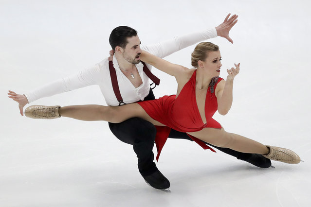 Madison Hubbell and Zachary Donohue, of the United States, perform during the ice dance rhythm dance competition at the Four Continents Figure Skating Championships on Friday, February 8, 2019, in Anaheim, Calif. (Photo by Chris Carlson/AP Photo)