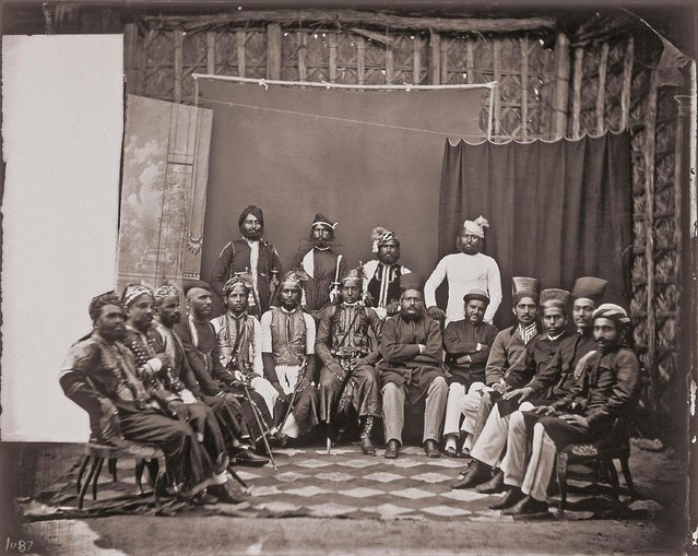 Group portrait of noteworthy men and visitors, in the Royal Palace of Jaipur, India, 1857 – 1865. (Photo by Maharaja Ram Singh III/Alinari via Getty Images)