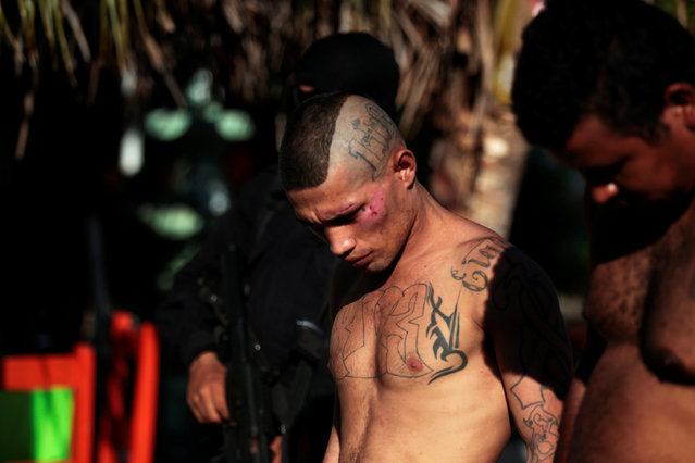 Members of the 18th Street Gang are presented to the media after being detained under charges of trafficking and robbery in Puerto El Triunfo, El Salvador, February 8, 2017. (Photo by Jose Cabezas/Reuters)