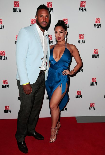 NFL player James Anderson and wife Carissa Rosario arrive for the NFLPA President's Party at The Revention Center on Friday, February 3, 2017, in Houston. (Photo by Bob Levey/AP Images for NFLPA)