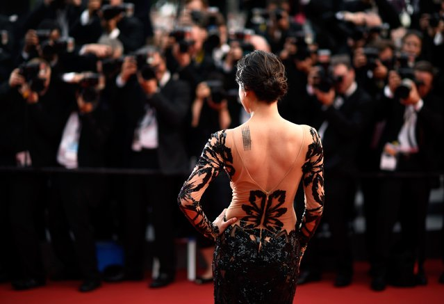 """Michelle Rodriguez attends Premiere of """"Mad Max: Fury Road"""" during the 68th annual Cannes Film Festival on May 14, 2015 in Cannes, France. (Photo by Clemens Bilan/Getty Images)"""
