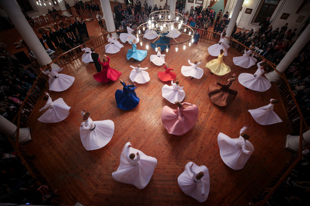 Dervishes perform at Gelibolu Lodge of Mevlevi Dervishes in Canakkale, Turkey on May 12, 2019. Sema ceremonies are organized regularly at Gelibolu Lodge of Mevlevi Dervishes in every month. (Photo by Sergen Sezgin/Anadolu Agency/Getty Images)