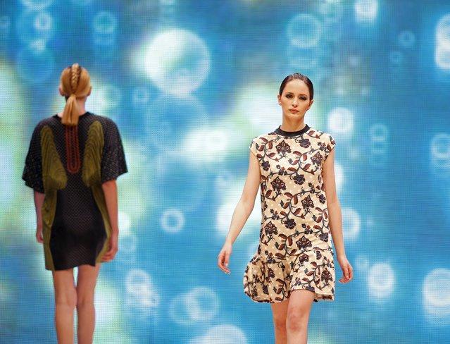 Models present creations by designer Julia Boikova of Estonia at the Malta Fashion Awards 2015 at the Marsa Shipbuilding warehouse in Marsa, outside Valletta in Malta, May 16, 2015. (Photo by Darrin Zammit Lupi/Reuters)