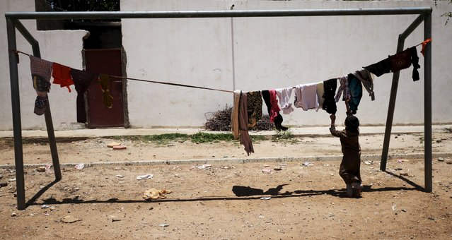 An internally displaced boy hangs laundry out to dry in a school playground in Sanaa May 17, 2015. (Photo by Mohamed al-Sayaghi/Reuters)