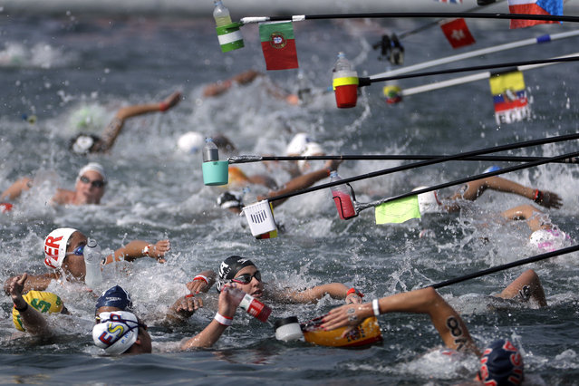 Swimmers reach for drink bottles while competing in the women's 10km open water swim at the World Swimming Championships in Yeosu, South Korea, Sunday, July 14, 2019. (Photo by Mark Schiefelbein/AP Photo)