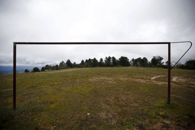 An abandoned goalpost is seen on the outskirts of Povoa de Agracoes, near Chaves, Portugal April 19, 2016. (Photo by Rafael Marchante/Reuters)