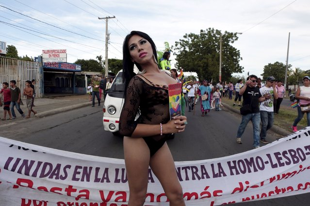 A reveller takes part in a Gay Pride parade in Managua, Nicaragua June 28, 2015. (Photo by Oswaldo Rivas/Reuters)