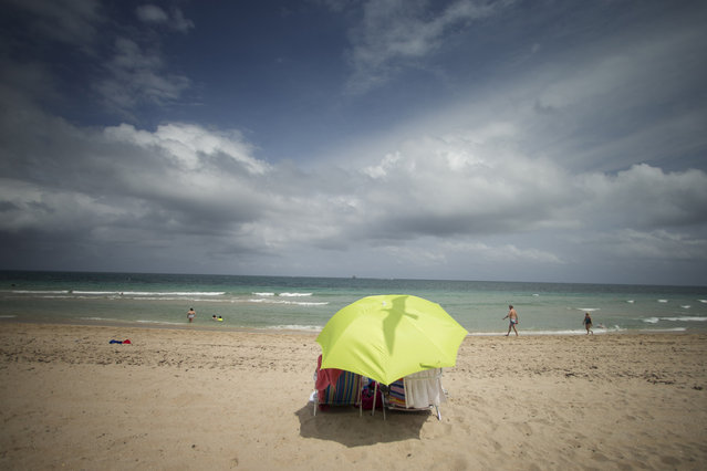 A seagull flies over a couple sunning inside a yellow umbrella on Fort Lauderdale, Fla., beach Wednesday, April 16, 2014, as approaching thunderstorms brew off shore. (Photo by J. Pat Carter/AP Photo)