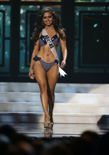 Miss Kansas, Alexis Railsback, competes in the bathing suit competition during the preliminary round of the 2015 Miss USA Pageant in Baton Rouge, La., Wednesday, July 8, 2015. (Photo by Gerald Herbert/AP Photo)